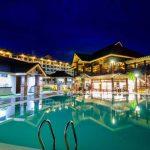 The swimming pool at night