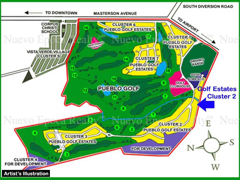 Golf Estates Cluster 2 (blue arrow)