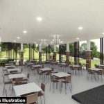Multi-purpose clubhouse interior illustration
