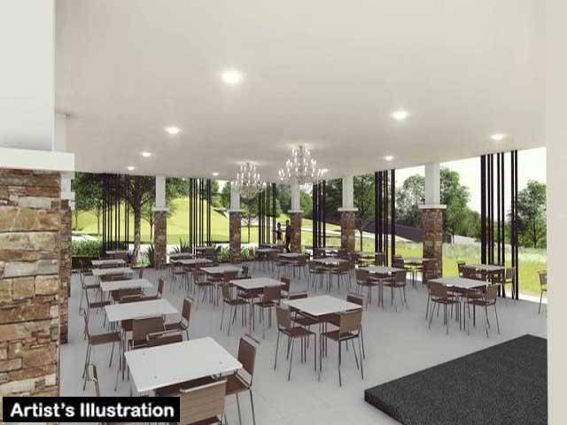 Multi-purpose clubhouse interior illustration